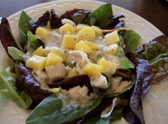 A week's worth of salad recipes including Chicken and Mango Salad with Creamy Cilantro Lime Dressing Recipe