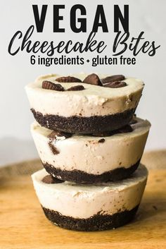 Vegan cheesecake bites- gluten free & no bake, with only six ingredients! A buttery oreo crust and PB cup, strawberry, and coconut whipped cream topping. They�re easy, decadent, and the most delicious.