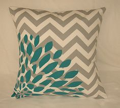 "Grey Chevron Pillow Cover 16""x16"" Square. Hand Painted / Stenciled Turquiose for B bed"