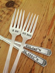 I Do Me Too Wedding Cake Fork Set - Hand Stamped - Travel Wedding - Coordinates on the handles. $30.00, via Etsy.