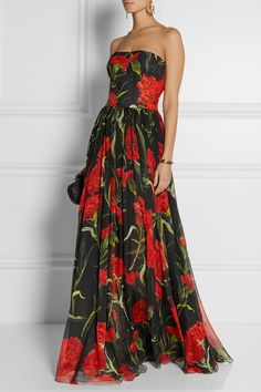 Dolce & Gabbana | Printed floral-brocade and chiffon gown | I love this dress! #style #elegance