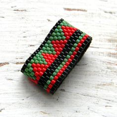 Peyote ring wide band ring delica seed beads by Anabel27shop