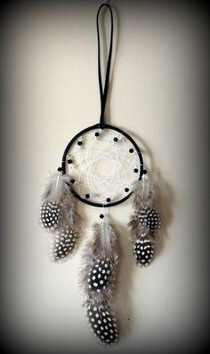Black Suede  Dream Catcher with glass beads by DreamySummerNights, $6.00