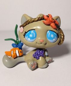 Littlest pet shop Cat  * Sea Fun Kitty * Custom Hand Painted LPS OOAK #Hasbro