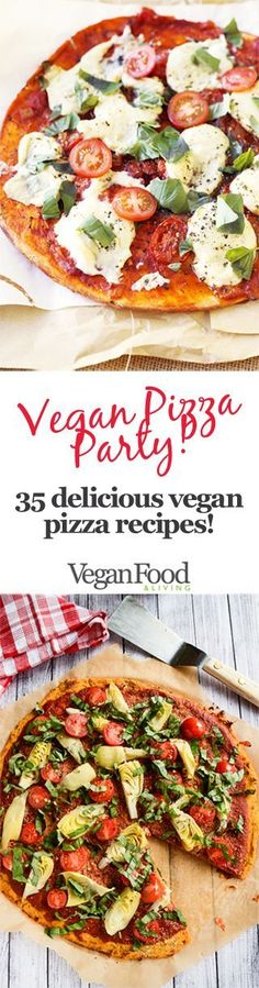 Feast your eyes on these awesome vegan pizza recipes, from margherita pizzas with melty vegan mozzarella to deep dish Chicago style pizza pies, and have yourself a deliciously dairy-free pizza party!