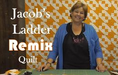 JACOB'S LADDER REMIX. This surprisingly easy reproduction of an antique quilt uses two blocks: 4 patch and half-square triangle. Could be made from precut charm packs or you can cut your own. You alternate the blocks in the first row. In the next row, you flip the half square when you alternate the blocks. The video shows the whole process and how easily it all goes together.