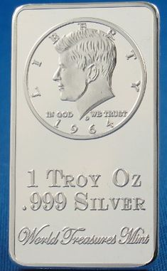 1 Troy Ounce .999 Silver Bullion Clad Ingot John F. Kennedy Half Dollar, 1964 Bar - World Treasures Mint`s Top 15 U.s. Currency Coin Designs Series $9.99