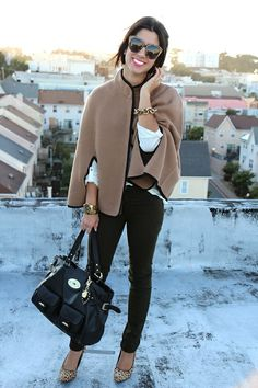 A beige cape is a great neutral and will go with navy, green, black