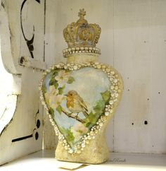 Up cycled bottle, heart shaped with decoupage and crown topper