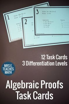 Algebraic Proofs Task Cards - use as an intro to proofs in geometry
