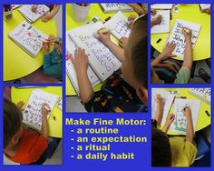 Getting your day underway with Fine Motor opportunities (sign-in)... Article on all things fine motor linked to HUGE blog hop on Fine Motor work
