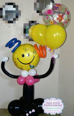 Happy Birthday Smiley Balloon Bouquet Sculpture Company