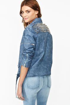 Spiked Moto Jacket - Blue