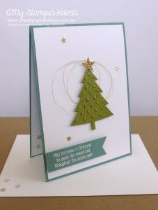 Peaceful Pines, Perfect Pines Framelits Christmas Card #MyStampinHaven #StampinUp