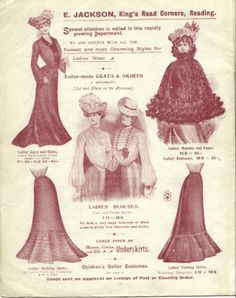 Women's Clothing at Jacksons, Women's blouses, underskirts, coats and skirts at Jacksons, all of which were tailor-made Women's Blouses, Blouses For Women, Creative Inspiration, Old Photos, Jackson, Women's Clothing, Shops, Coats, Sewing