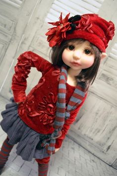 """Autumn Rose"" ooak outfit for Bea, Gertie, Rue MSD BJD Kaye Wiggs by Tracy P"