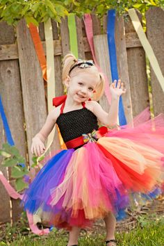Rainbow Cutie Rainbow flower girl tutu dress by WildHeartsBoutique, $70.00