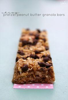 Chewy Pretzel Peanut Butter Granola Bars
