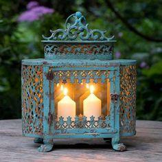 antique style french lantern by the flower studio Blue Lantern, Lantern Lamp, Lantern Candle Holders, Lantern Lighting, Boho Lighting, Lanterns Decor, Candle Lanterns, Candle Jars, Antique Lanterns