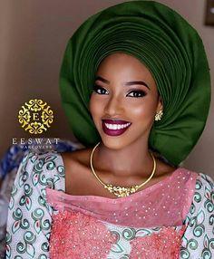 African Queen @Regrann from @bellanaijaweddings  -  💚Gorgeous Northern Bride Halima 💚✨ Makeup: @eeswatmakeovers #BellaNaijaWeddings #Regrann #africanbeauty #african #beauty #nigeria #nigerian #nigerianbeauty #african #africanqueen #gele #lace #pink #green #gold #blue #yellow #nigerianqueen
