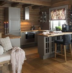 Many small log cabin homes are highly decorative with excellent finishes. You could easily design a log home yourself and you could go from there, but it's a good… Continue Reading → Kitchen Interior, Interior, Home, Cabin Decor, Log Home Kitchens, Small Log Cabin, House Interior, Home Kitchens, Kitchen Design