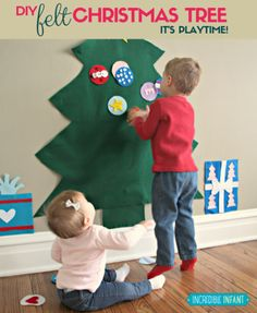 Make a safe felt tree for your little ones to play with over the holidays. A great way to distract them from the REAL tree! Learn how: http://incredibleinfant.com/family/diy-felt-christmas-tree/?utm_campaign=coschedule&utm_source=pinterest&utm_medium=Incredible%20Infant%20%28Heather%20Taylor%29&utm_content=Rockin%27%20Around%20the%20Felt%20Christmas%20Tree%3A%20A%20DIY%20Baby-Friendly%20Tree #toddlers #parentingtips #DIYChristmas #babyactivities