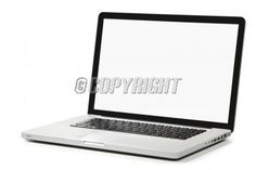 Modern silver laptop with white screen, black frame screen and black keyboard. Isolated on a white background.