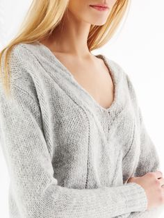 LADIES` SWEATER, SWEATERS, SWEATSHIRTS, grey, MOHITO