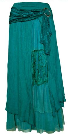 PRETTY ANGEL Teal Vintage Boho Peasant Gypsy skirt--flowing, layered, & breezy