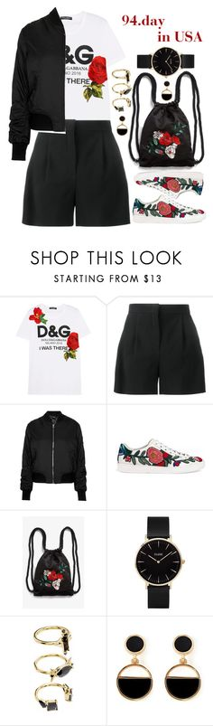 """94.day in USA"" by elizcoco ❤ liked on Polyvore featuring Dolce&Gabbana, Alberta Ferretti, Topshop, Gucci, Monki, CLUSE, Noir Jewelry and Warehouse"