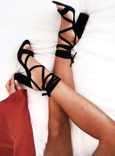 black block heel tie up sandals.