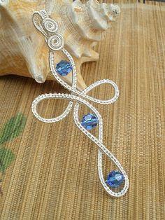 Sapphire dark blue Swarovski crystal wire wrapped by catinalife, $46.00