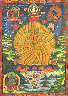Guru Rinpoche (Tibetan), or Padmasambhava (Sanskrit), radiating such light that you can't see his face.
