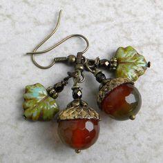 ACORN EARRINGS  Agate Gemstone Acorns With Brass Acorn by Msemrick, $22.00