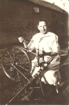 My Great Grandmother and her Spinning Wheel that came with her from Norway in 1870.