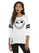 The Nightmare Before Christmas Jack Skellington Girls Destructed Sweater,