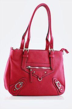 Feeling Fushia Handbag ~ Measurements: 14 x 8.5 x 4 inches Materials: faux leather, fabric Price: $39.99