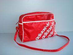 Retro ADIDAS Gym Bag Travel bag red big sport bag by DelicateRetro, $39.00