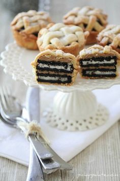 oreo and peanut butter mini pies.