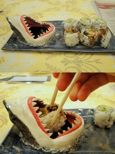 Great White Shark Sushi Plate Let this great white shark take a bite out of your sushi roll with this custom made sushi plate! The shark's mouth serves as the soy sauce holder. --I want to watch shark week and eat sushi with this Sushi Platter, Shark Bites, Food Humor, Funny Food, Kitchen Gadgets, Food Art, Nom Nom, Food And Drink, Cooking