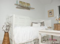 The search for the perfect bed for Baby L's room is over. Now the search begins for the perfect doors to make this day bed! Here's a honey-do before the baby gets here! How Doors Became Our Daybed | Perfectly Imperfect Blog