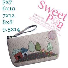 Houses makeup zipper bag 5x7 6x10 7x12 8x8 9.5x14 in the hoop machine embroidery design