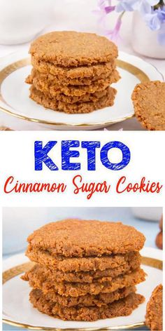 Jul 2019 - Delicious keto cookies you CAN NOT stop eating! These simple low carb cookies are prepared with only 4 ingredients. These low carb keto cinnamon sugar cookies are easy to make and super yummy. Keto Cookies, Keto Snacks, Healthy Desserts, Galletas Keto, Cinnamon Sugar Cookies, Cinnamon Cookie Recipe, Low Sugar Cookies, Keto Approved Foods, Desserts Sains