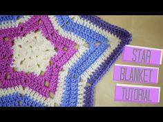 Crochet Star Baby Blanket - Free Video Tutorial For Easy Pattern (Works For Afghans) - Crochetaholic Crochet Star Blanket, Star Baby Blanket, Crochet Ripple, Crochet Stars, Manta Crochet, Afghan Crochet Patterns, Crochet Baby, Crochet Mittens, Freeform Crochet