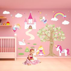 Fairy Wall Decal, Deluxe Fairy Princess Nursery Wall Stickers - pinned by pin4etsy.com