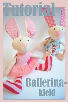 free Tutorial Schnittmuster Nähanleitung Stoffhase mit Ballerinakleid