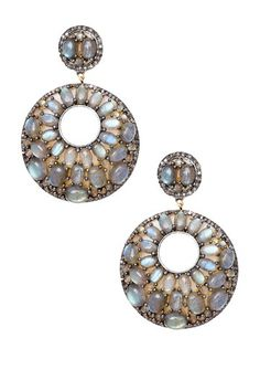 Diamond Pave Labradorite Disk Earrings by Jewels By Lori K on @HauteLook