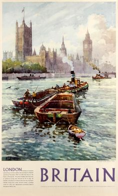 An poster sized print, approx mm) (other products available) - Poster, River Thames at Westminster, London. Date: 1954 - Image supplied by Mary Evans Prints Online - poster sized print mm) made in the UK London Poster, London Art, Fine Art Prints, Canvas Prints, Framed Prints, British Travel, Railway Posters, River Thames, Vintage Travel Posters