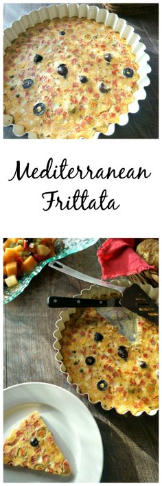 Mediterranean Frittata: Classic Mediterranean flavors like feta, kalamata olives, tomatoes, spinach, and oregano, are baked into an egg custard for a healthy, flavorful dish that is perfect for a family breakfast, brunch, or light dinner.