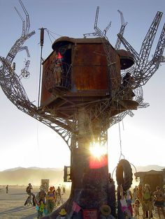 "Steam Punk Treehouse - Kinda looks like this one is at burning man.  I don't see any other ""trees"".  Awesome anyway!"